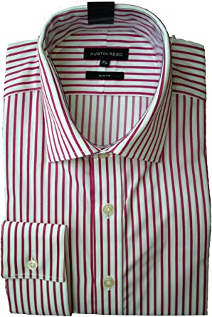 Mens Austin Reed Shirt Pink Stripe Ls Collar 15 R Slim Fit Amazon Co Uk Clothing