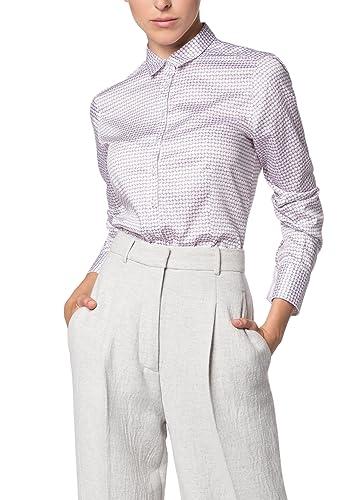 Eterna Comfort Fit Langarm Bedruckt Mit Hemd-Kragen, Blusa para Mujer