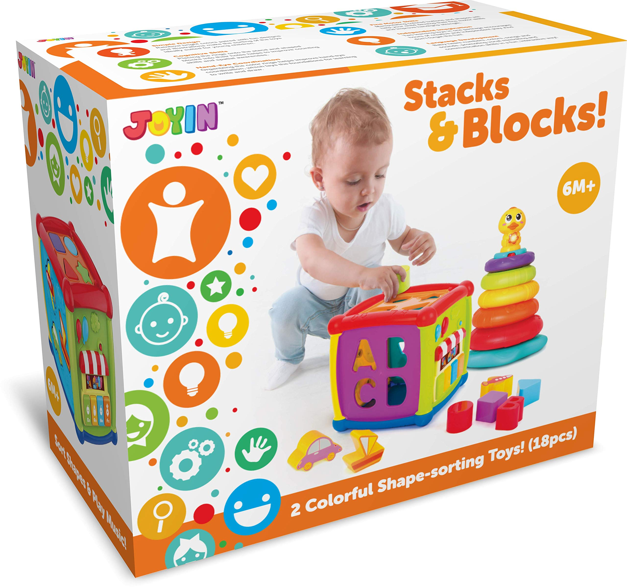JOYIN Baby Activity Center Flashing Baby Stack Toys with Shape Color Sorting Alphabet Activity Cube Music Cute Toys by JOYIN (Image #5)