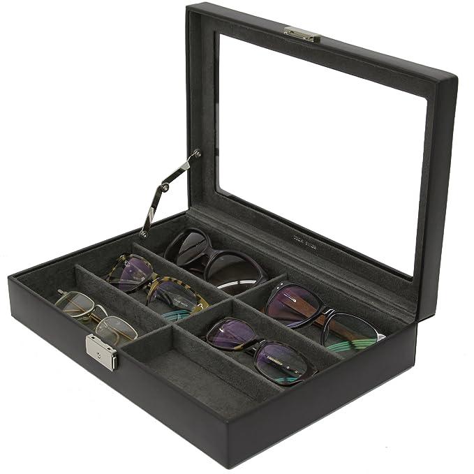 Superbe Eyeglasses Sunglasses Storage Case Leather 6 Slots (Black)