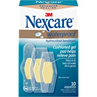 Nexcare Waterproof Advanced Healing, Hydrocolloid Bandages, Assorted Sizes, 10Count