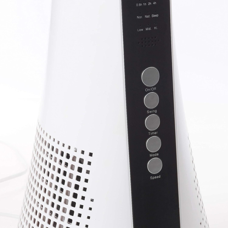 White Silentnight 38009 Oscillating Bladeless Tower Fan Remote Control 3 Speeds Slimline Design Timer Sleep Mode