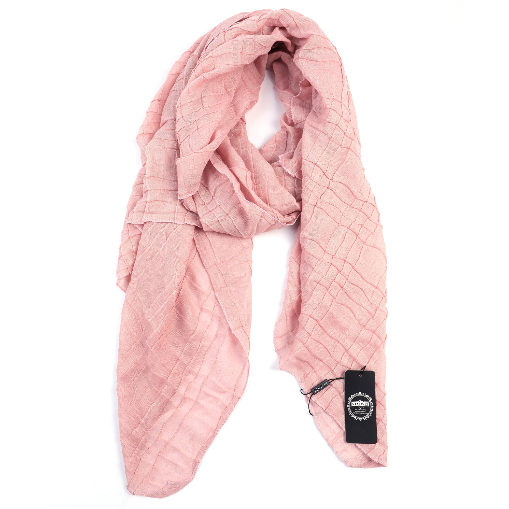 Light Weight Sheer Scarf - NiAiWei Women Extra Long Shawl Wrap for Winter, Solid Color Scarves