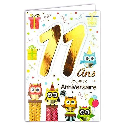 69-2011 - Tarjeta feliz cumpleaños de 11 años para niños y ...