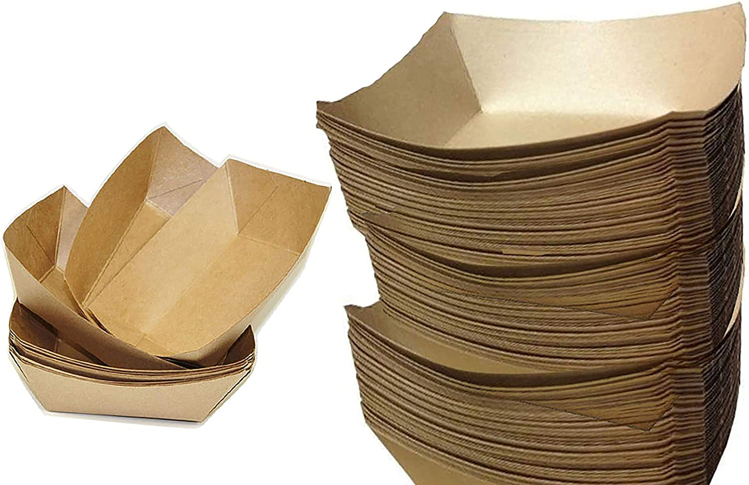 3 lb paper food trays Set of 100 Sturdy and Recyclable Brown Kraft Paper Food Trays Great for Parties, Takeout, Home Use, Outdoor (100, 5