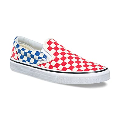Vans Unisex Classic Slip-On (Checkerboard) Red Blue VN0A38F7QCS Mens 4.5 e0bb5914d
