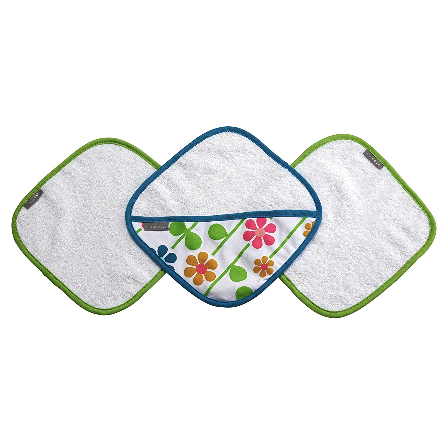 JJ Cole Washcloth Summer Garden & Bath Mitt Set, Pink/Green/Blue/Yellow/White/Orange Tomy J01732