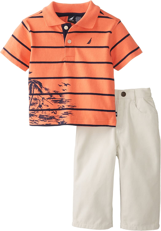 Nautica Boys 2 Piece Pique Stripe Polo with Twill Short