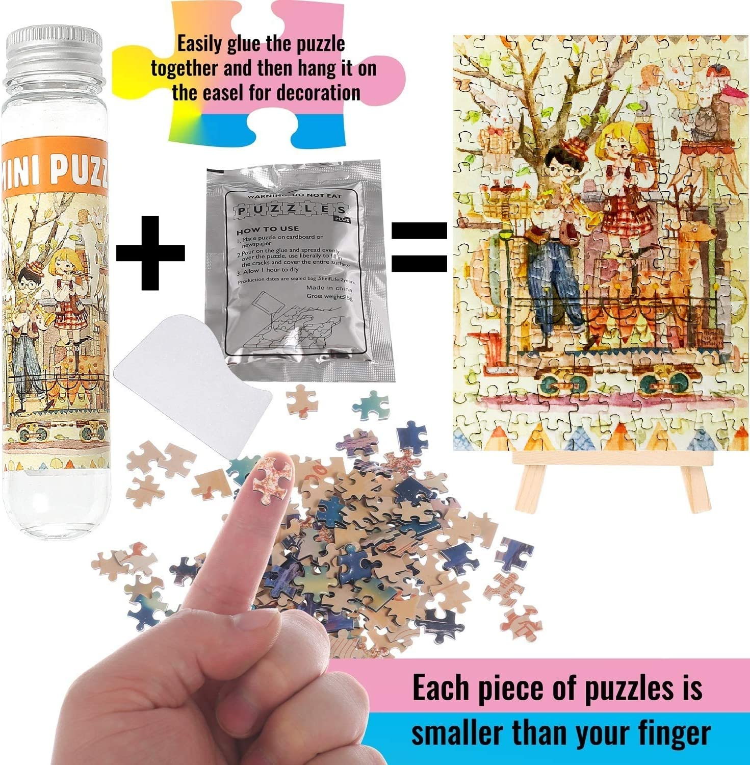 Mini Jigsaw Puzzles for Adults 150 Pieces Small Jigsaw Puzzles Aegean sea Concert Entertainment Gift Home Decor,6 x 4 Inches,3 Pack,Glue/&Mini Easel Included