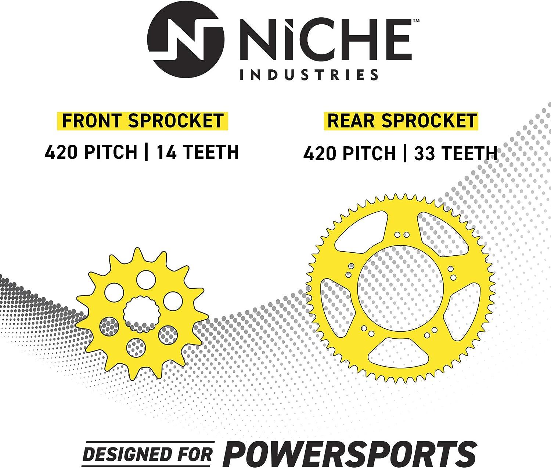 NICHE Drive Sprocket Chain Combo for Kawasaki KLX110 Suzuki DRZ110 Front 14 Rear 33 Tooth 420VM-X X-Ring 86 Links
