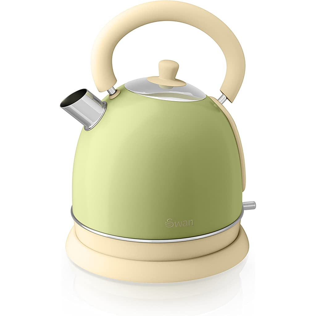 Tea Green Swan Retro Dome Kettle, 1.8 Litre