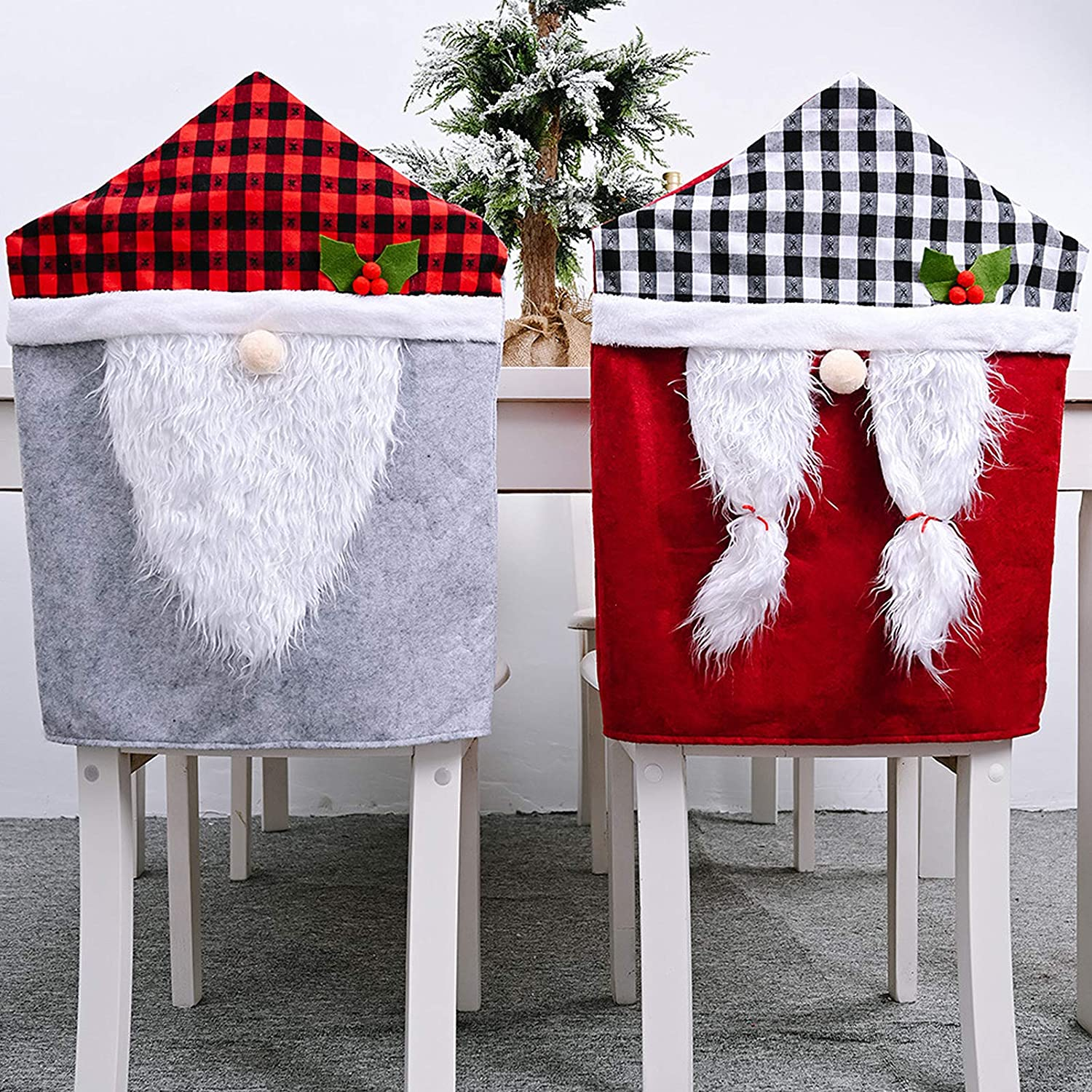 Set of 4 Christmas Gnome Chair Covers- Buffalo Checker Plaid Hat Gnome Chair Slipcover Suits Santa Hat Chair Back Dining Chair Covers for Christmas Banquet Holiday Festival Decor (Red and Gray)
