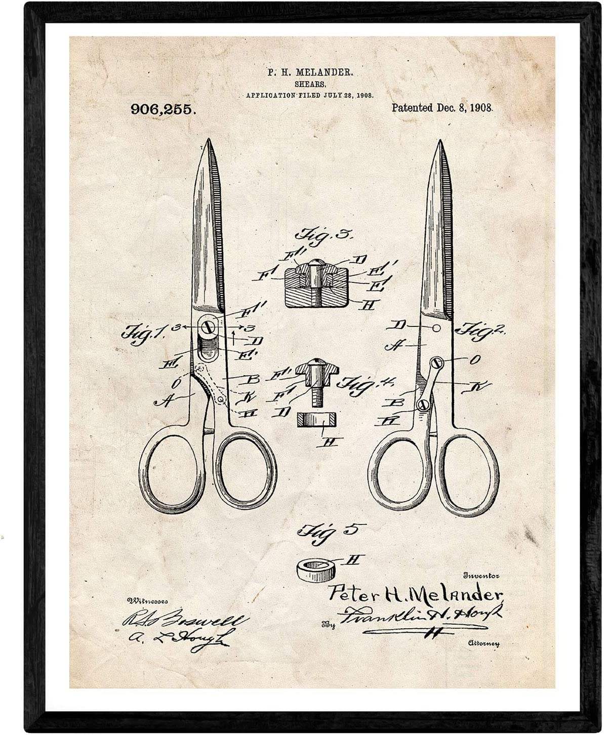 Nacnic Prints Vintage Patents Hairdressing Scissors - Set of 1 - Unframed 11x17 inch Size - 250g Paper - Beautiful Poster Painting for Home Office Living Room