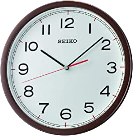 Seiko Plastic Case Wall Clock (30 cm x 30 cm x 4.5 cm, Light Brown) at amazon