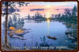 Vintage Sunset Skies and Camp Fire Nights Home Bar Pub Kitchen Restaurant Wall Deocr Plaque Signs 16x12inch