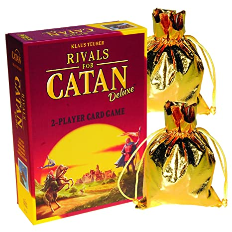 Rivals For Catan Deluxe 2 Player Card Game Bonus 2 Gold Metallic Cloth Drawstring Storage Pouches Bundled Items