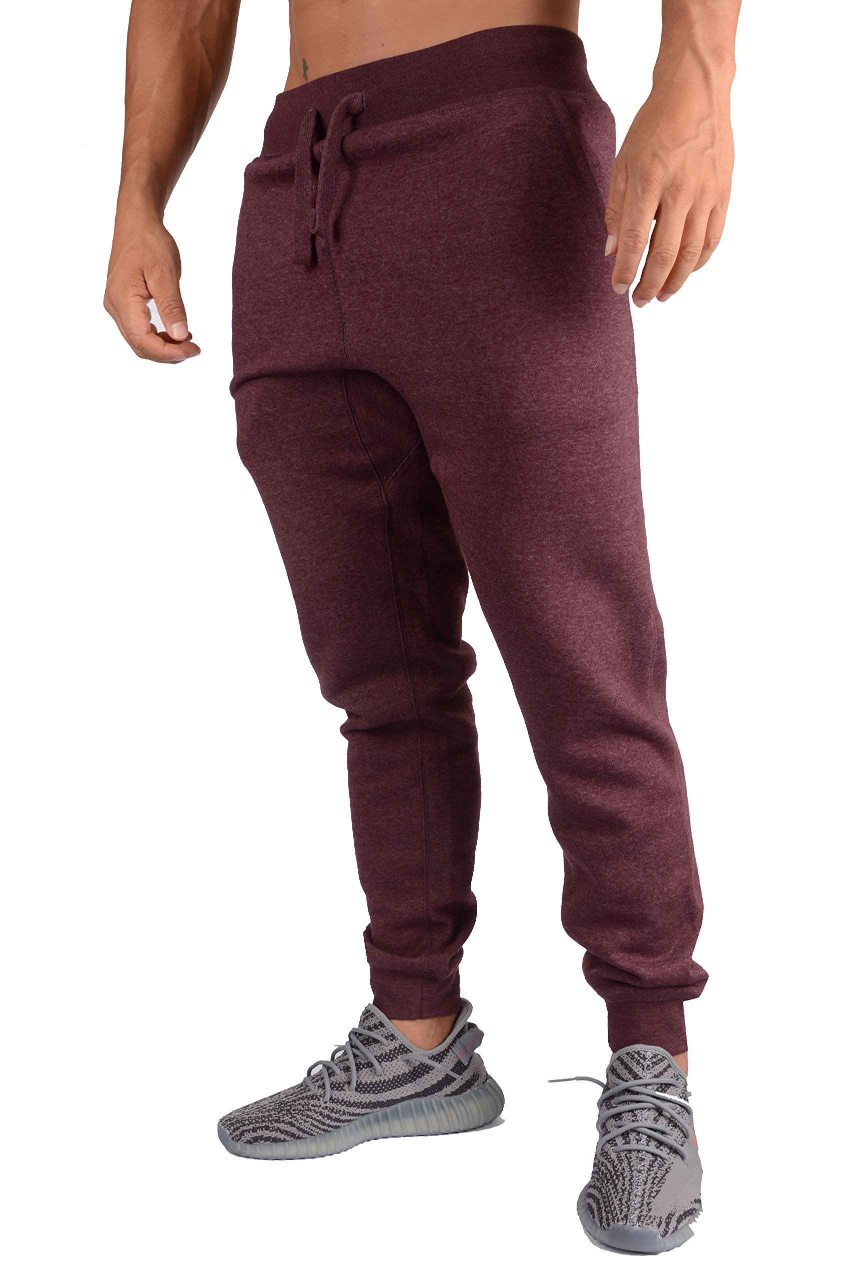 YoungLA Mens Slim Fit Joggers Fitness Activewear Sports Fleece Sweatpants for Gym Training Burgundy Heather Small