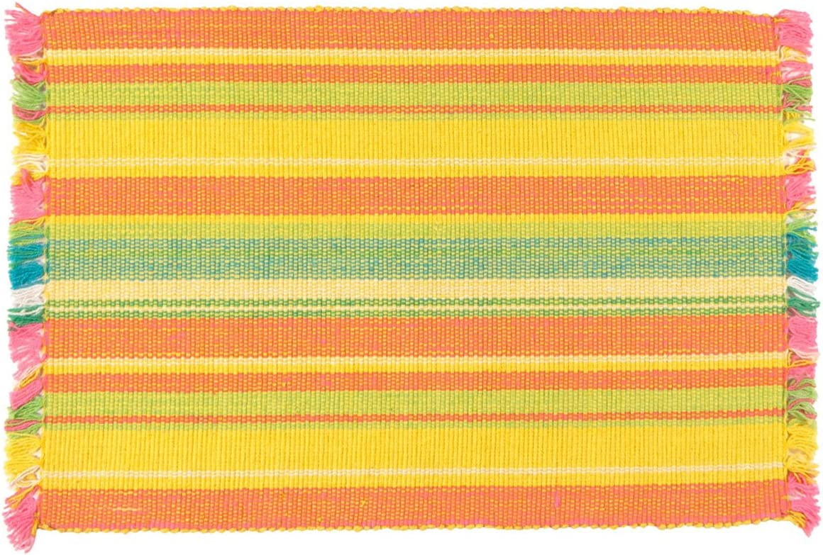 Traders And Company 100 Cotton Yellow Orange Striped 12 X18 Placemat Set Of 6 Flambe Home Kitchen