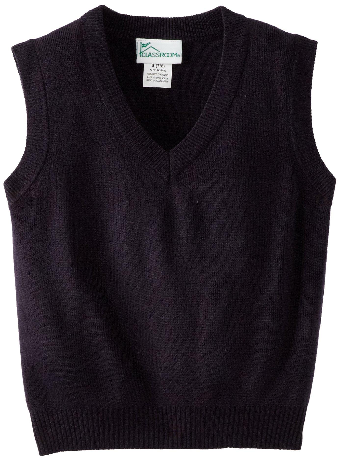 CLASSROOM Big Boys' Uniform Sweater Vest, Dark Navy, Medium