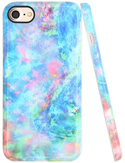 best loved 72ec5 1c4d7 iPhone 8 Opal Case, iPhone 7 Case for Girls, A-Focus Slim Smooth Opal  Pattern Colorful Pink Blue Green IMD Design Flexible Silicone Cover Skin  for ...