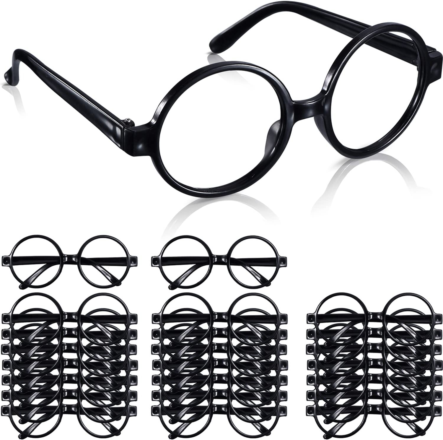 Plastic Wizard Glasses Round Glasses Frame No Lenses for Halloween Costume Party Supplies (24 Packs)