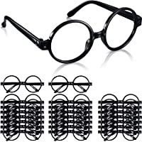 Shappy 24 Pack Wizard Glasses Plastic Black Round Glasses Frame for Costume Party Supplies
