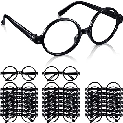 Amazon.com: Shappy 24 Pack Wizard Glasses Plastic Black Round ...