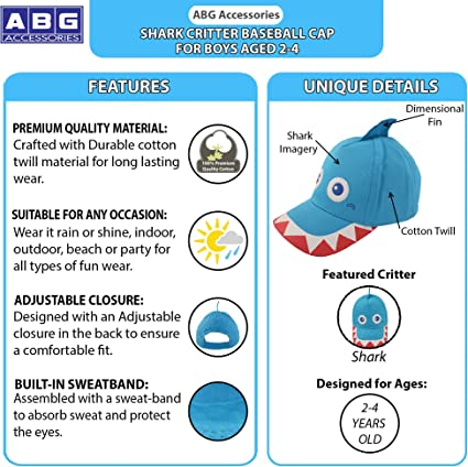 Age 2-4 ABG Accessories Toddler Boys Cotton Baseball Cap with Assorted Animal Critter Designs