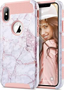 ULAK iPhone Xs Max Case, Slim Shockproof Protective Phone Case for Women, Hybrid Scratch Resistant Hard Shell TPU Bumper Back Cover Designed for iPhone Xs Max, Artistic Marble