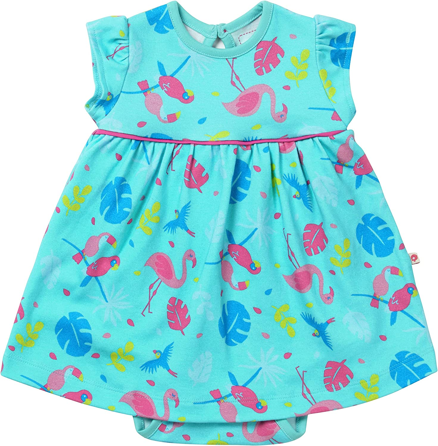 Piccalilly Baby Body Dress Organic Cotton Short Sleeves Turquoise Tropical Flamingo