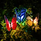 [NEWEST] Butterfly Garden Solar Lights Outdoor, 3 Pack Qualife LED Color Changing Stake Lights, Solar Powered Optic Fiber Decorative Lighting, Yard Art, Garden Decorations, Housewarming Gifts.(SL132)
