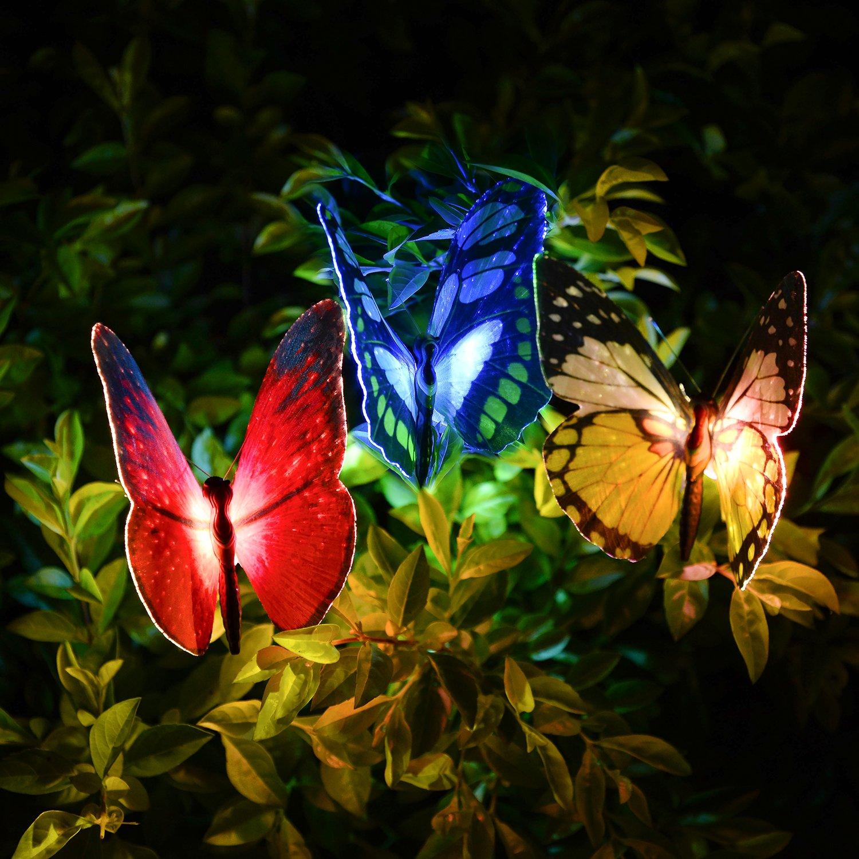 GoLine Butterfly Garden Solar Lights Outdoor, 3 Pack LED Color Changing Stake Lights, Solar Powered Optic Fiber Decorative Lighting, Yard Art, Garden Decorations, Housewarming Gifts.