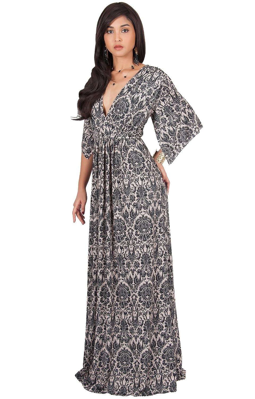 12cf2543d67 KOH KOH Womens Long Kaftan Printed Short Sleeve Empire Waist V-neck Maxi  Dress - Black -  Amazon.co.uk  Clothing