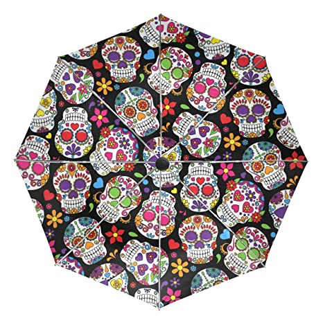 LORVIES Day Of The Dead Sugar Skull Background Automatic 3 Folding Parasol Sun Protection Anti