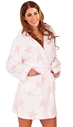 bdfd66392a3 Sparkly Ladies Star Print Wrapover Fleece Robe Dressing Gown with Hood and  2 Front Pockets