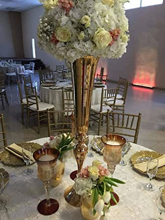 Everbon Set of 10 Wedding Flower Vase Gold Metal Table Decorative Centerpieces 34.6 Inches Tall Event & Amazon.com: Everbon Set of 10 Wedding Flower Vase Gold Metal Table ...