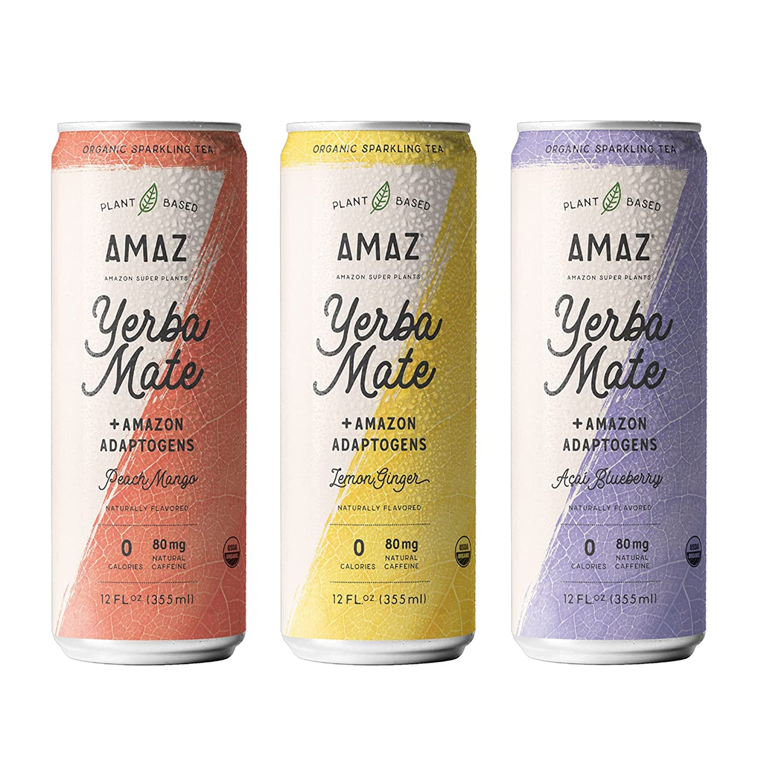AMAZ Organic Sparkling Yerba Mate Tea with Adaptogens for Natural Energy, Focus, & Immunity   Plant-based   Zero Calories   Zero Sugar   Vegan   Keto Friendly   80mg Organic Caffeine   Sustainably Sourced from Regenerative Agroforestry (Pack of 6)