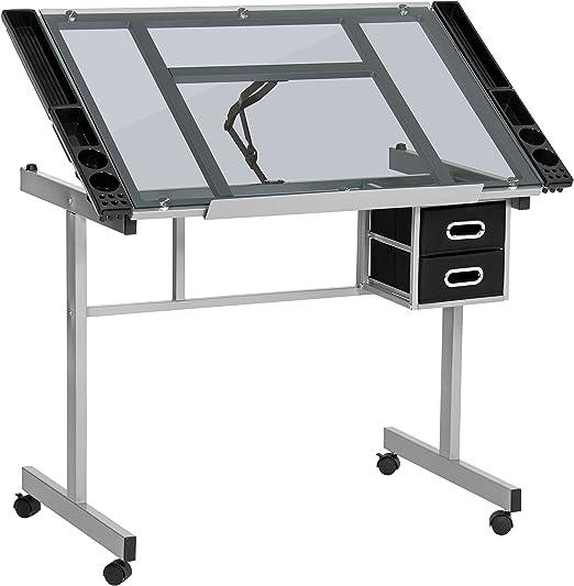 Drafting Drawing Craft Table Kids Art Glass Desk Storage Steel Toughened Glass
