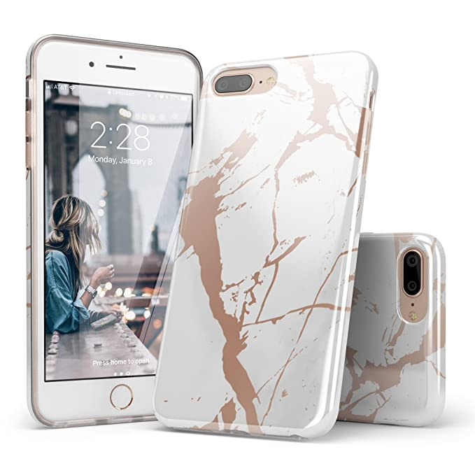 Iphone 8 Plus Case Shiny Rose Gold White Marble Design Casely Clear Bumper Matte Tpu Soft Rubber Silicone Cover Phone Case For Apple Iphone 7 Plus