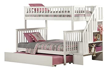 Woodland Staircase Bunk Bed With Urban Trundle White Twin Over Full