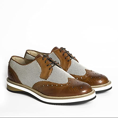 6bfb6731b850 Scarpe stringate uomo in pelle modello all'inglese di colore cuoio con  gomma bicolore scarpe