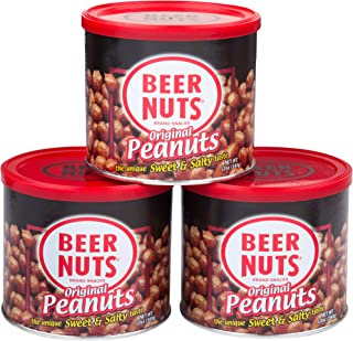 product image for BEER NUTS Original Peanuts - 12oz Resealable Can (Pack of 3), Sweet and Salty, Gluten-Free, Kosher, Low Sodium Peanut Snacks