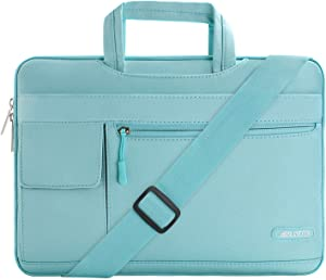 MOSISO Laptop Shoulder Bag Compatible with 13-13.3 inch MacBook Pro, MacBook Air, Notebook Computer, Polyester Flapover Briefcase Sleeve Case, Mint Blue