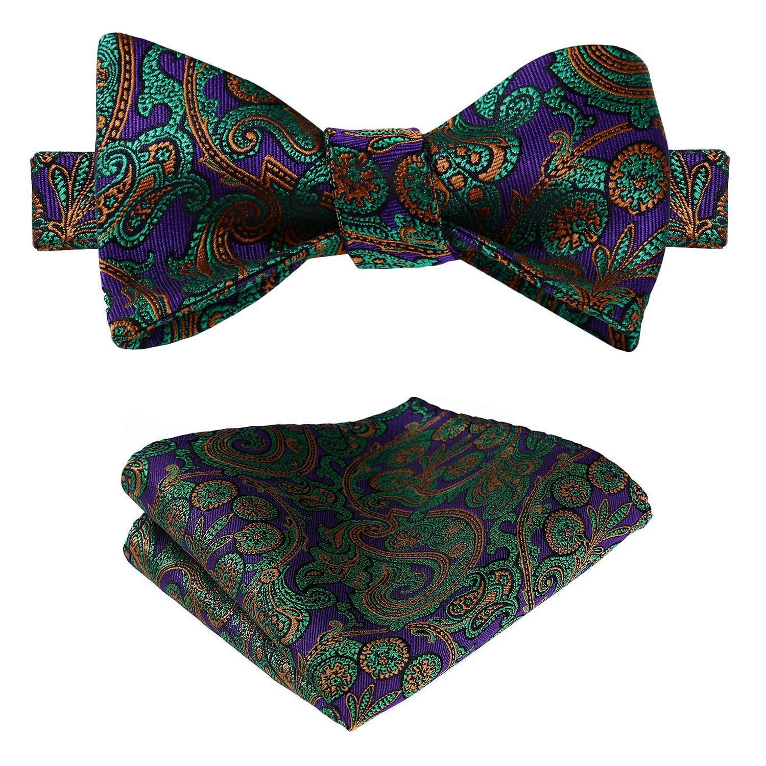 HISDERN Men's Paisley Floral Jacquard Wedding Party Self Bow Tie & Pocket Square Set BF3021PS-2