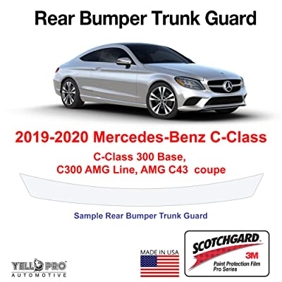 YelloPro Custom Fit Rear Trunk Bumper Edge 3M Scotchgard Paint Protector Film Anti Scratch Clear Bra Guard Cover Self Healing Kit for 2020 2020 Mercedes Benz C Class 300 Base, C300 AMG, C43 AMG Coupe: Automotive