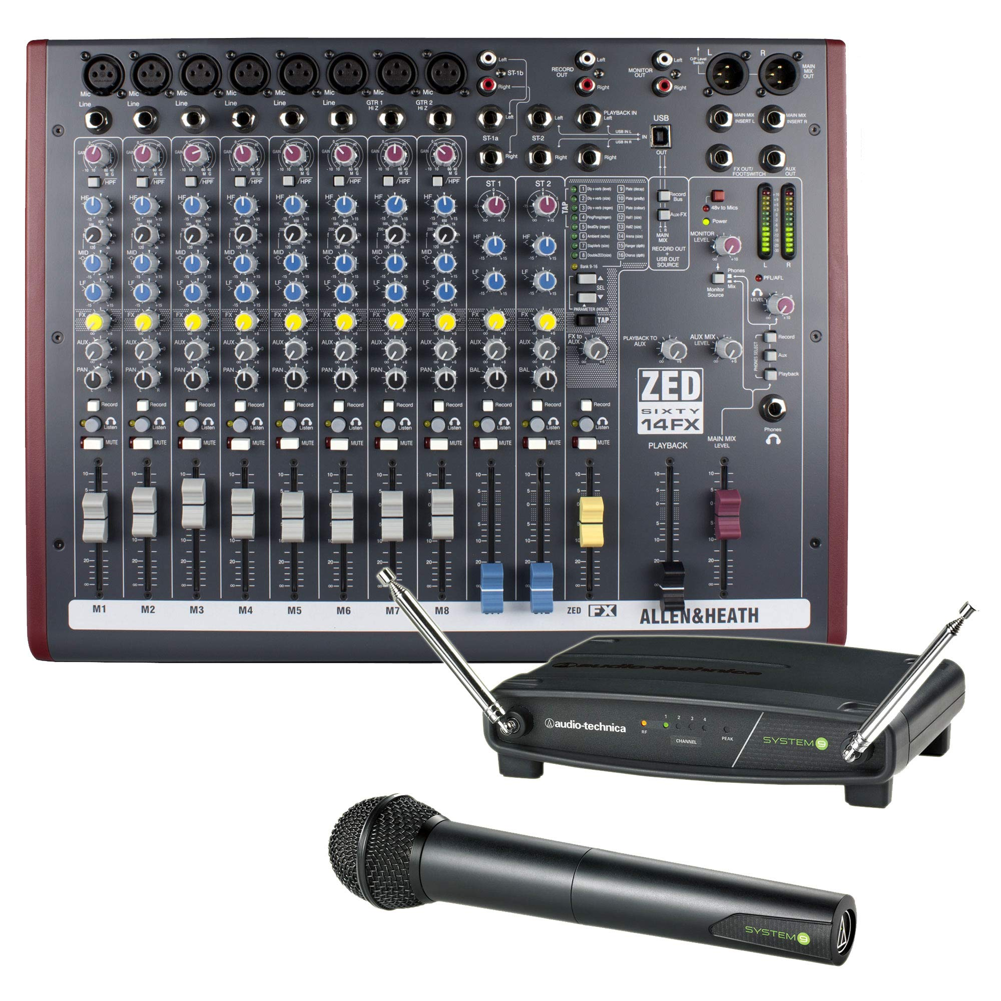 Allen & Heath ZED60-14FX Mixing Console Bundle with Wireless Microphone System