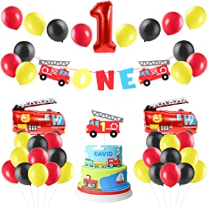 MALLMALL6 42Pack Firefighter One Year Old Themed Party Supplies Fireman First Birthday Party Favor Decoration Fire Truck 1st Banner Cake Topper Balloon Decor Photo Prop for Kids Boys Girls Baby Shower