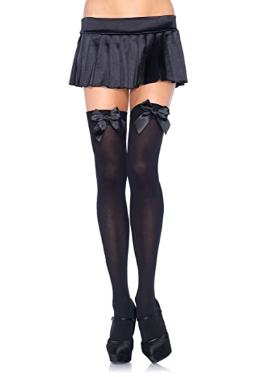 Amazon.com  Leg Avenue Women s Opaque Thigh-High Stockings with ... 1d468b777