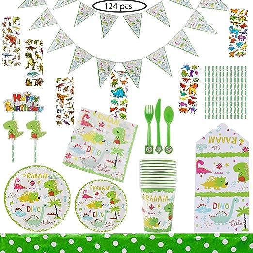 124pcs Dinosaurios Kids Birthday Party Vajilla Set ...