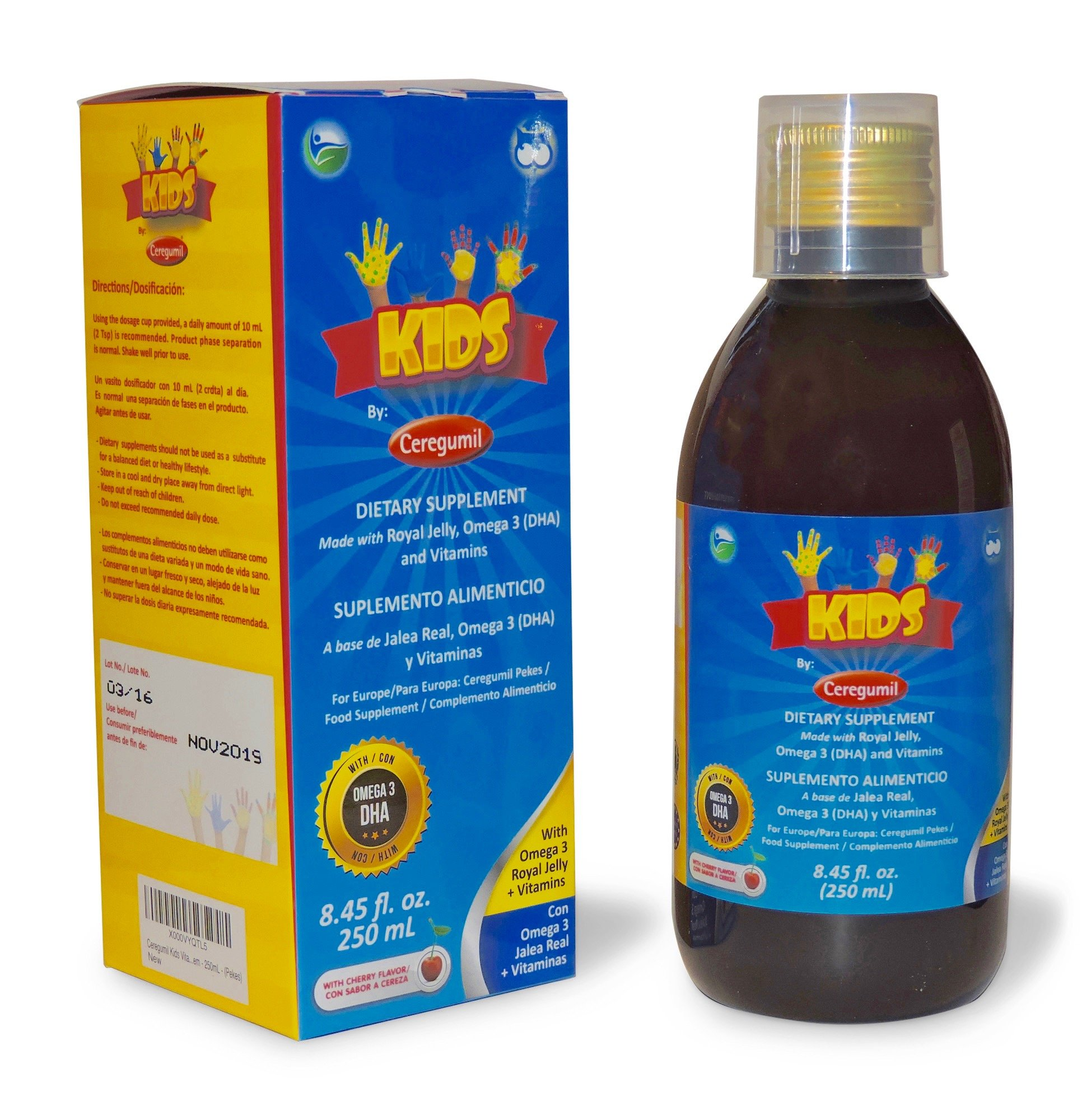 Ceregumil Kids Algae Omega 3 DHA Liquid Daily Multivitamin w/Vitamins C D3 B6 Cyanocobalamin B12 Physical Mental Development Royal Jelly for Growth & Development Excellent Child Nutrition - 250 mL